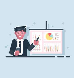 Businessman with pointer stick presentation chart vector