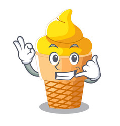 call me banana ice cream in cone character vector image