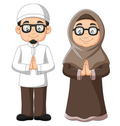 cartoon old muslim couple on white background vector image