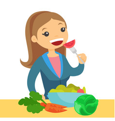 Caucasian woman eating healthy vegetable salad vector