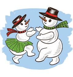 cheerful snowmen are dancing in christmas time vector image