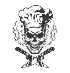 Chef skull in smoke cloud vector