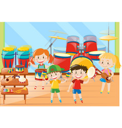 Children and musical instrument in classroom vector