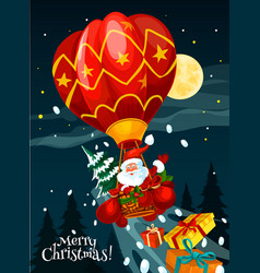 christmas card of santa with gift in air balloon vector image