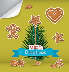 Christmas card with gingerbread and branch - tree vector