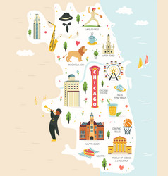 city map chicago with landmarks and symbols vector image