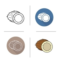 Coconut flat design linear and color icons set vector image