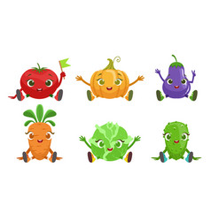Collection cute vegetables cartoon characters vector