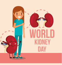 Cute girl and cartoon kidney campaign vector