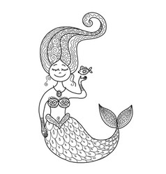 Cute mermaid and fish for your design vector