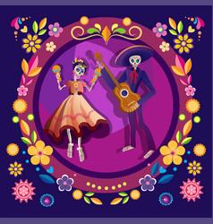 dancing skeletons flat vector image
