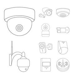 Design cctv and camera symbol set of vector