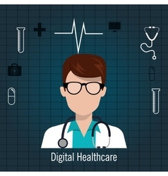 Doctor stethoscope icon digital healthcare vector