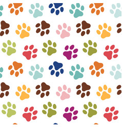dogs paw prints seamless pattern vector image
