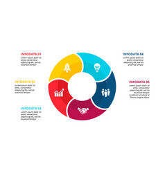 flat circle element for infographic with 5 vector image
