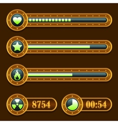 Game steampunk energy time progress bar icons set vector