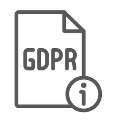 gdpr info line icon personal and privacy vector image