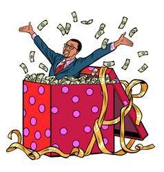 gift african businessman with money vector image