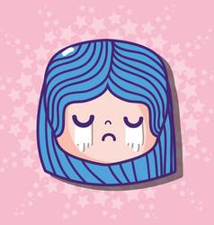 Girl head cryng emoji face message vector