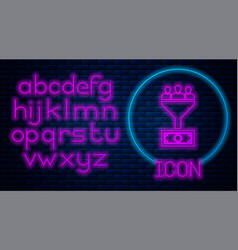 Glowing neon lead management icon isolated on vector