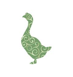 Goose bird color silhouette animal vector