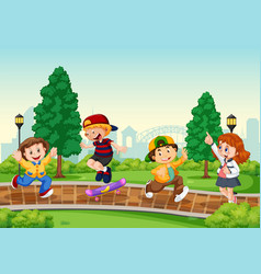 group children at park vector image