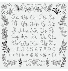 Hand Drawn English Alphabet Letters and Numbers vector