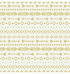 Hand drawn gold geometric ethnic seamless pattern vector image