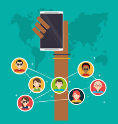 Hand holds mobile group social media global vector