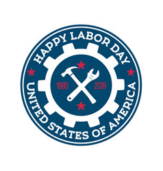 happy labor day round blue stamp design template vector image