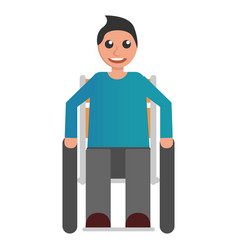 Happy wheelchair boy icon flat style vector