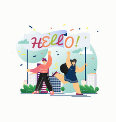 hello message flat style design vector image