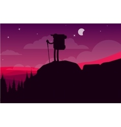 Hiking in mountains vector