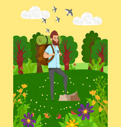 hiking in wild nature sporty man hob vector image