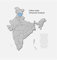 India country map himachal pradesh state template vector