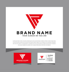 Initials ir logo with a business card vector