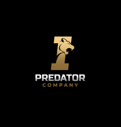 Letter i tiger predator logo design vector