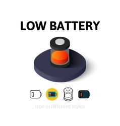 Low battery icon in different style vector image