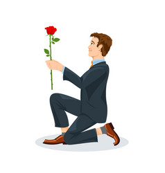 man is kneeling with a flower in his hand view vector image