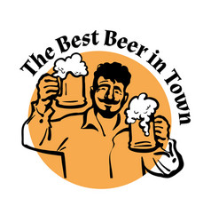 Man with two beer mugs the best beer in town vector