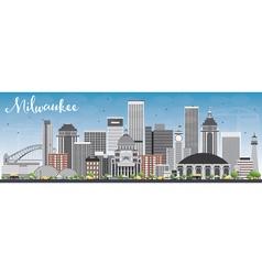 Milwaukee skyline with gray buildings vector