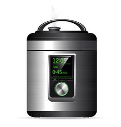 modern metal multicooker pressure cooker vector image