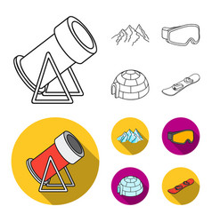 mountains goggles an igloo a snowboard ski vector image
