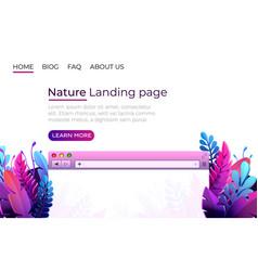 nature landing page design internet browser vector image