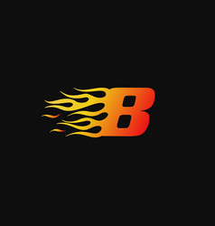 Number 8 burning flame logo design template vector