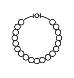 Pearl or beads necklace outline icon vector