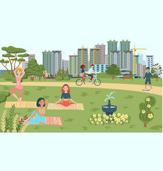 people do sport in park yoga bicycling scating vector image