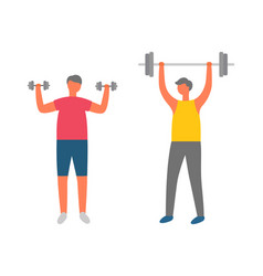 people with barbell and dumbbells bodybuilders vector image