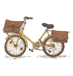 Postal Service Yellow Bicycle with Brown Bags vector