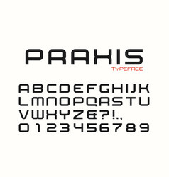 Praxis decorative regular font design alphabet vector